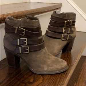 INC suede booties with faux leather straps